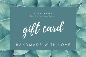 Gift Card Gift Card Sonal Kabra Sonal Kabra Buy Shop online premium luxury fashion clothing natural fabrics sustainable organic hand made handcrafted artisans craftsmen