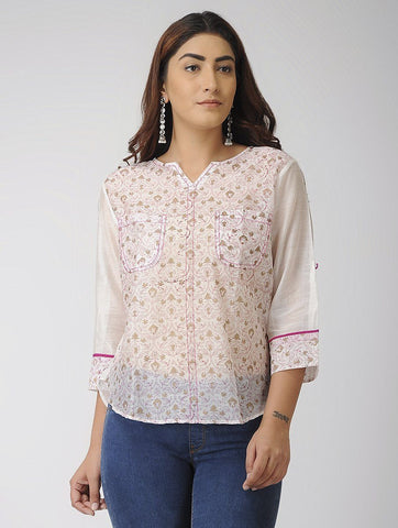 Gold and Pink shirt Shirt The Neem Tree Sonal Kabra Buy Shop online premium luxury fashion clothing natural fabrics sustainable organic hand made handcrafted artisans craftsmen
