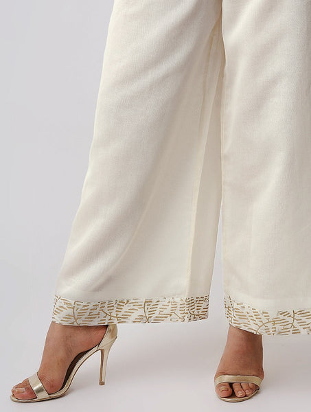 Gold border palazzo Palazzo The Neem Tree Sonal Kabra Buy Shop online premium luxury fashion clothing natural fabrics sustainable organic hand made handcrafted artisans craftsmen