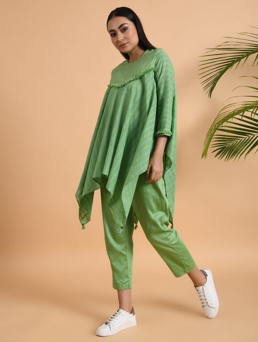 Green Asymmetrical Cotton Top with Tassels Top The Neem Tree Sonal Kabra Buy Shop online premium luxury fashion clothing natural fabrics sustainable organic hand made handcrafted artisans craftsmen
