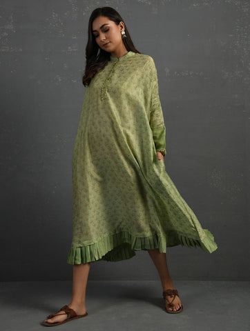 Green Block Printed Handwoven Chanderi Kurta Dress The Neem Tree Sonal Kabra Buy Shop online premium luxury fashion clothing natural fabrics sustainable organic hand made handcrafted artisans craftsmen