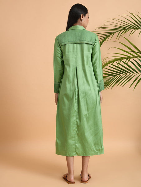 Green Box Pleat Cotton Silk Jacket Dress The Neem Tree Sonal Kabra Buy Shop online premium luxury fashion clothing natural fabrics sustainable organic hand made handcrafted artisans craftsmen