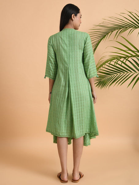 Green Cotton Dobby Jacket Jacket dress The Neem Tree Sonal Kabra Buy Shop online premium luxury fashion clothing natural fabrics sustainable organic hand made handcrafted artisans craftsmen