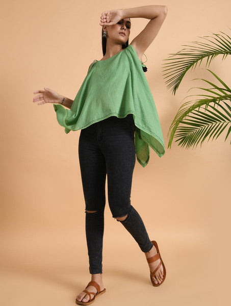 Green Cotton Dobby Top Top The Neem Tree Sonal Kabra Buy Shop online premium luxury fashion clothing natural fabrics sustainable organic hand made handcrafted artisans craftsmen