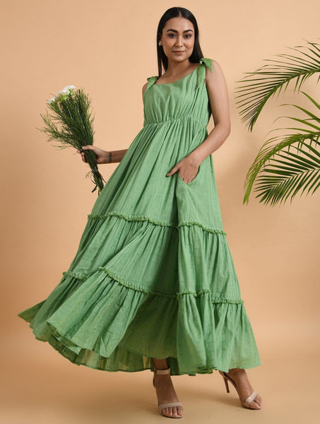 Green Cotton Maxi Dress Dress The Neem Tree Sonal Kabra Buy Shop online premium luxury fashion clothing natural fabrics sustainable organic hand made handcrafted artisans craftsmen