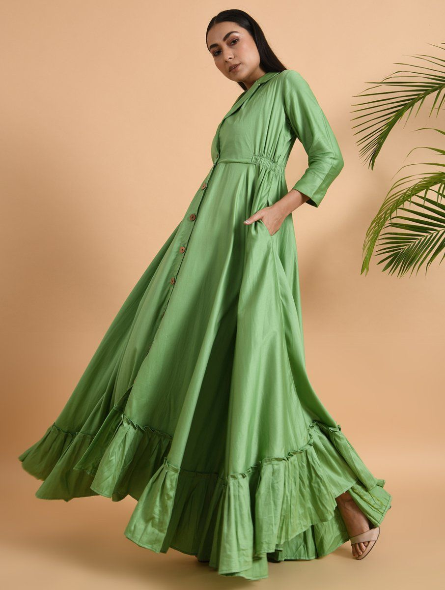 Green Cotton Silk Jacket Dress Dress The Neem Tree Sonal Kabra Buy Shop online premium luxury fashion clothing natural fabrics sustainable organic hand made handcrafted artisans craftsmen
