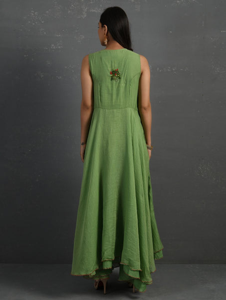 Green Hand Embroidered Sleeveless Kurta Kurta Sonal Kabra Sonal Kabra Buy Shop online premium luxury fashion clothing natural fabrics sustainable organic hand made handcrafted artisans craftsmen
