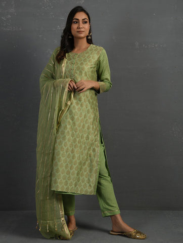 Green Handwoven Kota Dupatta with Gota Details Dupatta & Stoles The Neem Tree Sonal Kabra Buy Shop online premium luxury fashion clothing natural fabrics sustainable organic hand made handcrafted artisans craftsmen