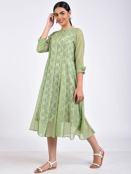 Green kali dress Jacket dress The Neem Tree Sonal Kabra Buy Shop online premium luxury fashion clothing natural fabrics sustainable organic hand made handcrafted artisans craftsmen