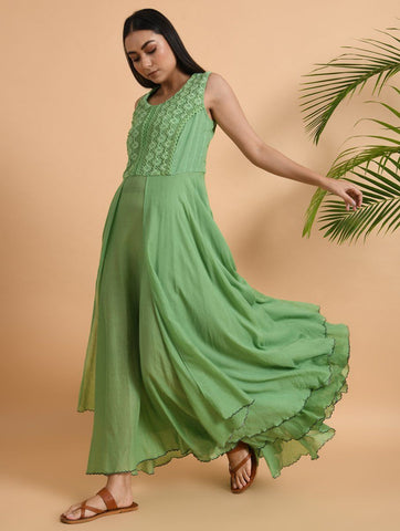 Green Lace Trimmed Double layered Dress Dress The Neem Tree Sonal Kabra Buy Shop online premium luxury fashion clothing natural fabrics sustainable organic hand made handcrafted artisans craftsmen