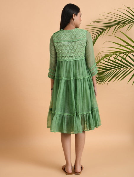 Green Lace Trimmed Kota Dress Dress The Neem Tree Sonal Kabra Buy Shop online premium luxury fashion clothing natural fabrics sustainable organic hand made handcrafted artisans craftsmen