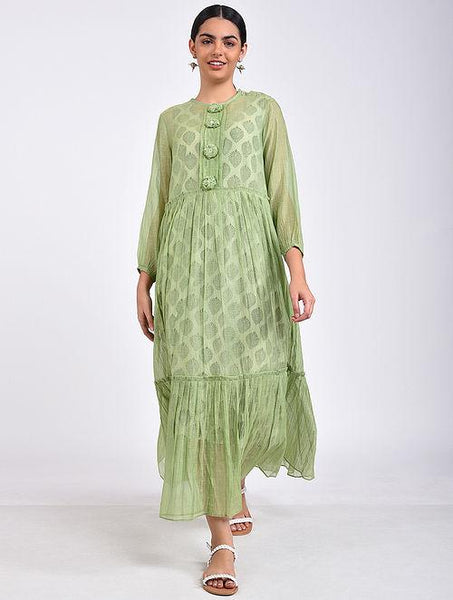 Green maxi dress Dress The Neem Tree Sonal Kabra Buy Shop online premium luxury fashion clothing natural fabrics sustainable organic hand made handcrafted artisans craftsmen