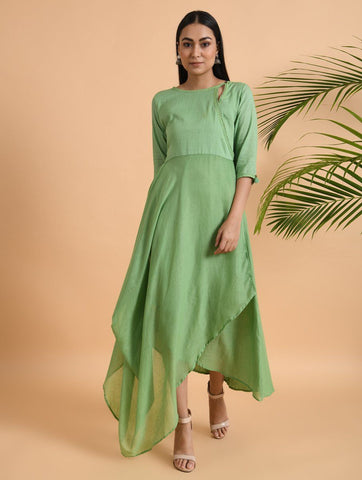 Green overlap drape dress Dress The Neem Tree Sonal Kabra Buy Shop online premium luxury fashion clothing natural fabrics sustainable organic hand made handcrafted artisans craftsmen