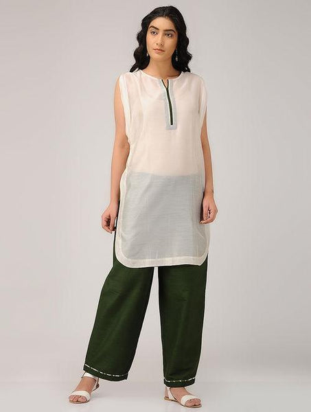 Green pants Pants Sonal Kabra Sonal Kabra Buy Shop online premium luxury fashion clothing natural fabrics sustainable organic hand made handcrafted artisans craftsmen