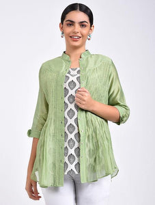 Green pin tuck shirt Top The Neem Tree Sonal Kabra Buy Shop online premium luxury fashion clothing natural fabrics sustainable organic hand made handcrafted artisans craftsmen