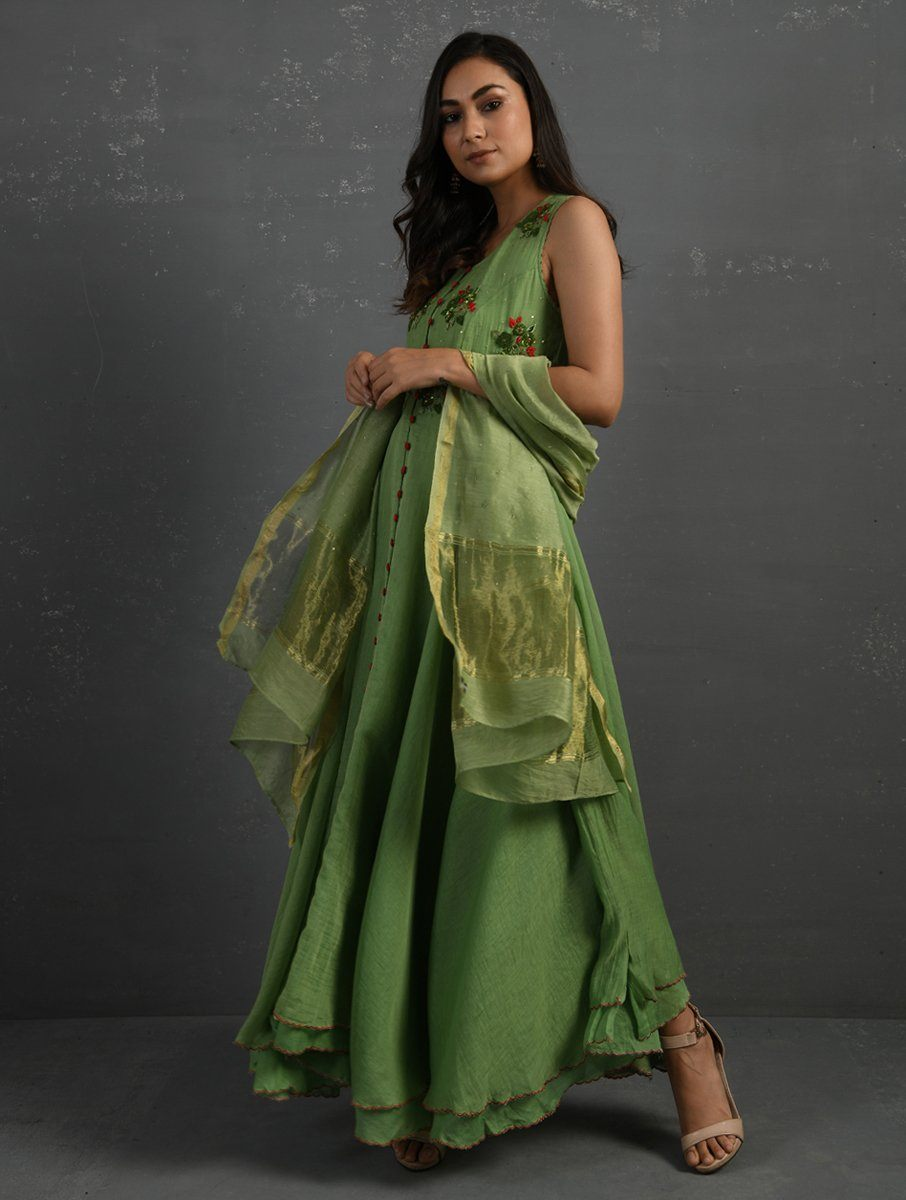 Green Sequenced Dupatta Dupatta & Stoles Sonal Kabra Sonal Kabra Buy Shop online premium luxury fashion clothing natural fabrics sustainable organic hand made handcrafted artisans craftsmen