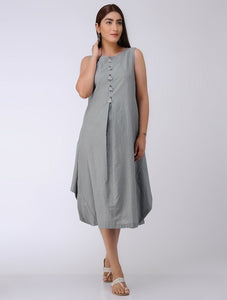 Grey drape dress Dress The Neem Tree Sonal Kabra Buy Shop online premium luxury fashion clothing natural fabrics sustainable organic hand made handcrafted artisans craftsmen