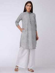 Grey garden Kurta The Neem Tree Sonal Kabra Buy Shop online premium luxury fashion clothing natural fabrics sustainable organic hand made handcrafted artisans craftsmen