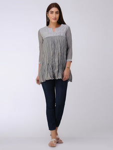 Grey gather top Top The Neem Tree Sonal Kabra Buy Shop online premium luxury fashion clothing natural fabrics sustainable organic hand made handcrafted artisans craftsmen