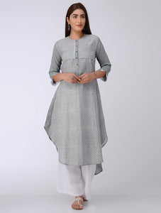 Grey high-low kurta Kurta The Neem Tree Sonal Kabra Buy Shop online premium luxury fashion clothing natural fabrics sustainable organic hand made handcrafted artisans craftsmen
