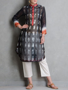 Grey shibori kurta Kurta Sonal Kabra Sonal Kabra Buy Shop online premium luxury fashion clothing natural fabrics sustainable organic hand made handcrafted artisans craftsmen