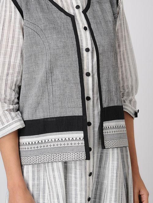 Grey short jacket Top Sonal Kabra Sonal Kabra Buy Shop online premium luxury fashion clothing natural fabrics sustainable organic hand made handcrafted artisans craftsmen