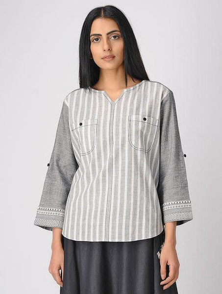 Grey south cotton shirt Shirt The Neem Tree Sonal Kabra Buy Shop online premium luxury fashion clothing natural fabrics sustainable organic hand made handcrafted artisans craftsmen