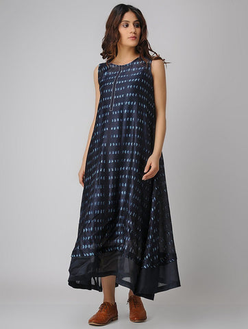 Indigo A-line dress (Set of 2) Dress Sonal Kabra Sonal Kabra Buy Shop online premium luxury fashion clothing natural fabrics sustainable organic hand made handcrafted artisans craftsmen