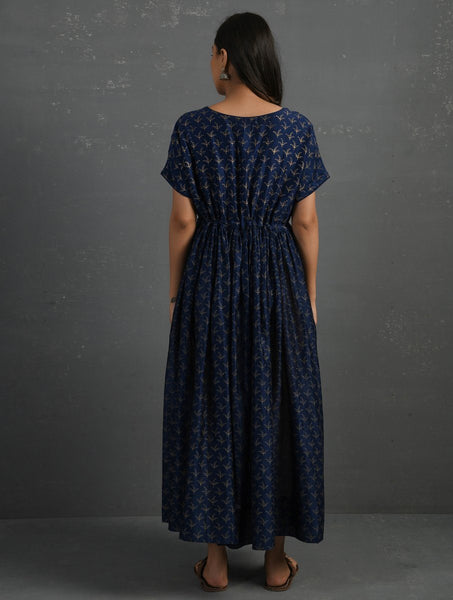 Indigo Block Printed Handwoven Chanderi Kurta Dress The Neem Tree Sonal Kabra Buy Shop online premium luxury fashion clothing natural fabrics sustainable organic hand made handcrafted artisans craftsmen