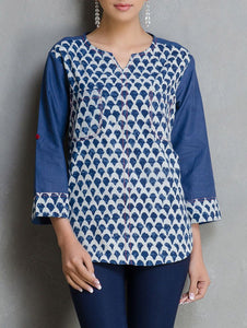 Indigo dabu shirt Shirt The Neem Tree Sonal Kabra Buy Shop online premium luxury fashion clothing natural fabrics sustainable organic hand made handcrafted artisans craftsmen