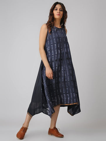 Indigo dress (Set of 2) Dress Sonal Kabra Sonal Kabra Buy Shop online premium luxury fashion clothing natural fabrics sustainable organic hand made handcrafted artisans craftsmen