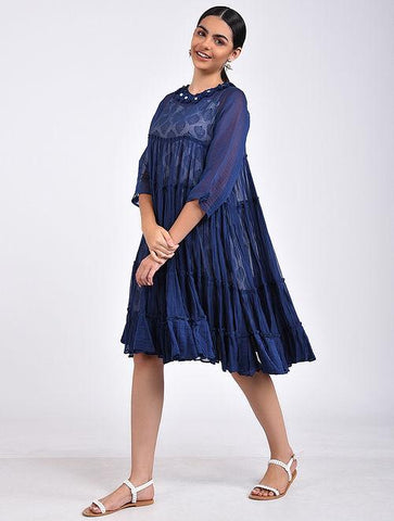 Indigo gather dress Dress The Neem Tree Sonal Kabra Buy Shop online premium luxury fashion clothing natural fabrics sustainable organic hand made handcrafted artisans craftsmen
