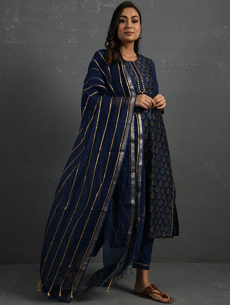 Indigo Handwoven Kota Dupatta with Gota Details Dupatta & Stoles The Neem Tree Sonal Kabra Buy Shop online premium luxury fashion clothing natural fabrics sustainable organic hand made handcrafted artisans craftsmen