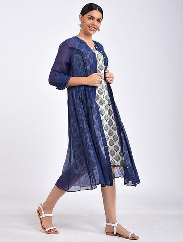 Indigo kali dress Jacket dress The Neem Tree Sonal Kabra Buy Shop online premium luxury fashion clothing natural fabrics sustainable organic hand made handcrafted artisans craftsmen