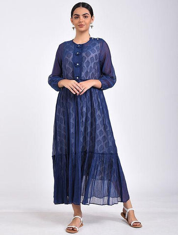 Indigo maxi dress Dress The Neem Tree Sonal Kabra Buy Shop online premium luxury fashion clothing natural fabrics sustainable organic hand made handcrafted artisans craftsmen