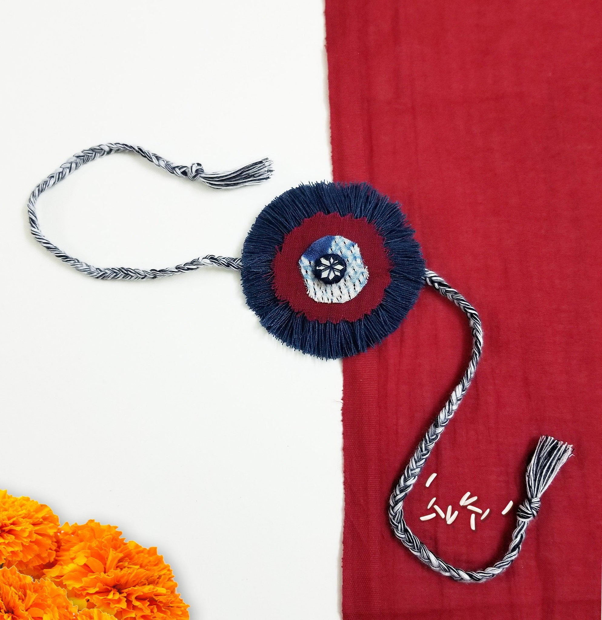 Indigo Mirror Work Rakhi Rakhi The Neem Tree Sonal Kabra Buy Shop online premium luxury fashion clothing natural fabrics sustainable organic hand made handcrafted artisans craftsmen
