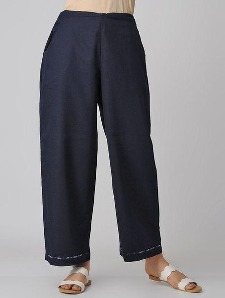 Indigo pants Pants Sonal Kabra Sonal Kabra Buy Shop online premium luxury fashion clothing natural fabrics sustainable organic hand made handcrafted artisans craftsmen