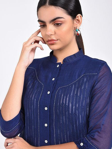 Indigo pin tuck shirt Top The Neem Tree Sonal Kabra Buy Shop online premium luxury fashion clothing natural fabrics sustainable organic hand made handcrafted artisans craftsmen