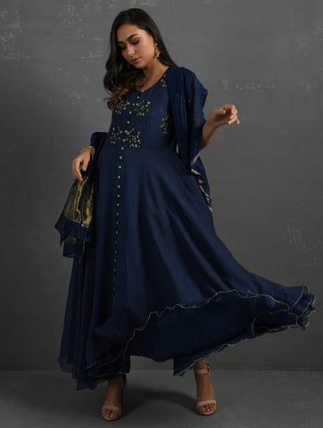 Indigo Sequenced Dupatta Dupatta & Stoles Sonal Kabra Sonal Kabra Buy Shop online premium luxury fashion clothing natural fabrics sustainable organic hand made handcrafted artisans craftsmen