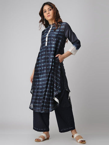 Indigo shibori kurta Kurta Sonal Kabra Sonal Kabra Buy Shop online premium luxury fashion clothing natural fabrics sustainable organic hand made handcrafted artisans craftsmen