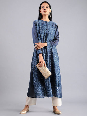 Indigo shibori kurta (Set of 2) Kurta Sonal Kabra Sonal Kabra Buy Shop online premium luxury fashion clothing natural fabrics sustainable organic hand made handcrafted artisans craftsmen