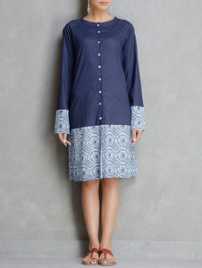 Indigo shirt dress Jacket dress The Neem Tree Sonal Kabra Buy Shop online premium luxury fashion clothing natural fabrics sustainable organic hand made handcrafted artisans craftsmen