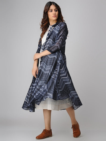 Indigo zigzag jacket dress (Set of 2) Jacket dress Sonal Kabra Sonal Kabra Buy Shop online premium luxury fashion clothing natural fabrics sustainable organic hand made handcrafted artisans craftsmen