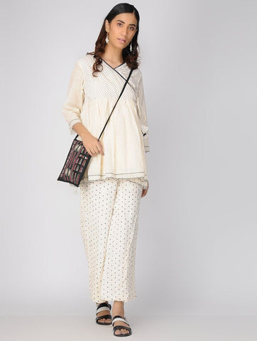 Ivory angarakha top Top The Neem Tree Sonal Kabra Buy Shop online premium luxury fashion clothing natural fabrics sustainable organic hand made handcrafted artisans craftsmen