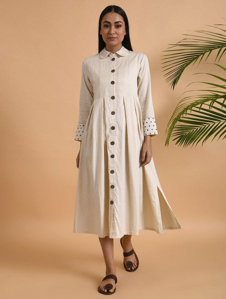 Ivory Box Pleat Cotton Silk Jacket Dress The Neem Tree Sonal Kabra Buy Shop online premium luxury fashion clothing natural fabrics sustainable organic hand made handcrafted artisans craftsmen