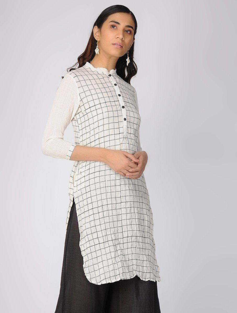 Ivory checks kurta Kurta The Neem Tree Sonal Kabra Buy Shop online premium luxury fashion clothing natural fabrics sustainable organic hand made handcrafted artisans craftsmen
