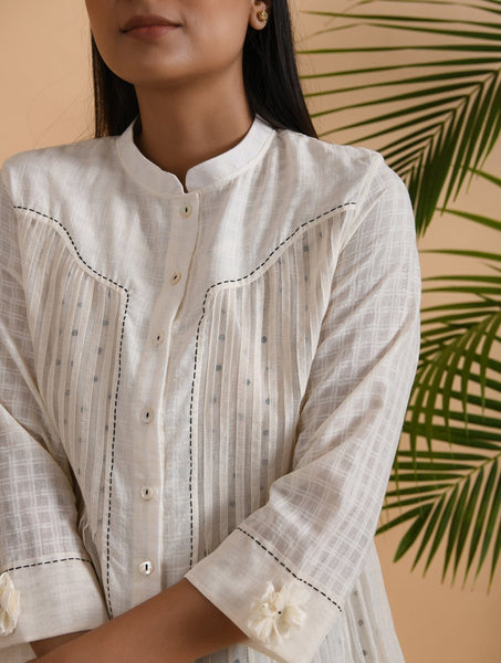 Ivory Cotton Khadi Shirt with Slip (Set of 2) Top The Neem Tree Sonal Kabra Buy Shop online premium luxury fashion clothing natural fabrics sustainable organic hand made handcrafted artisans craftsmen