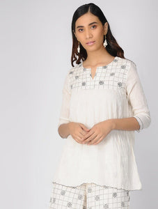 Ivory gather top Top The Neem Tree Sonal Kabra Buy Shop online premium luxury fashion clothing natural fabrics sustainable organic hand made handcrafted artisans craftsmen