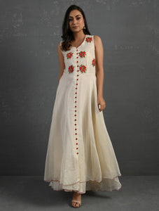 Ivory Hand Embroidered Sleeveless Kurta Kurta Sonal Kabra Sonal Kabra Buy Shop online premium luxury fashion clothing natural fabrics sustainable organic hand made handcrafted artisans craftsmen