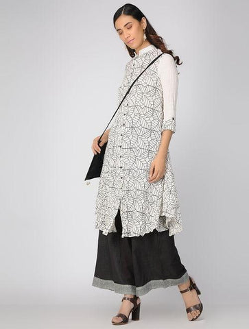 Ivory leaf dress Jacket dress Sonal Kabra Sonal Kabra Buy Shop online premium luxury fashion clothing natural fabrics sustainable organic hand made handcrafted artisans craftsmen